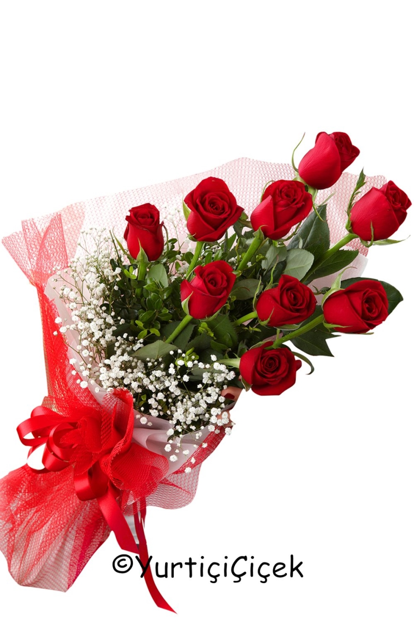 Red Roses 9 Piece Words Of Love Dumped Her Name Duymanızla Your Hearts Delight