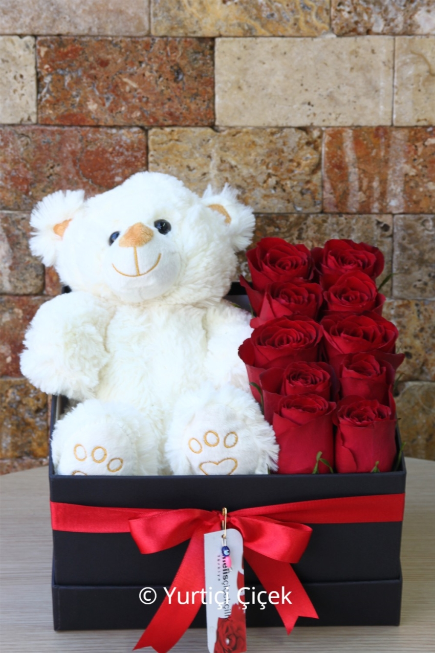 10 red roses into a black box and prepared with plush teddy bear designs will be enough to express whats on your heart. Note: Bear color varies according to the type and number of stock status. 