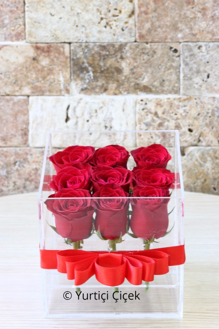 With 9 red roses in the special plexy box, the exact place and the exact time of presenting the best of the surprises to him.