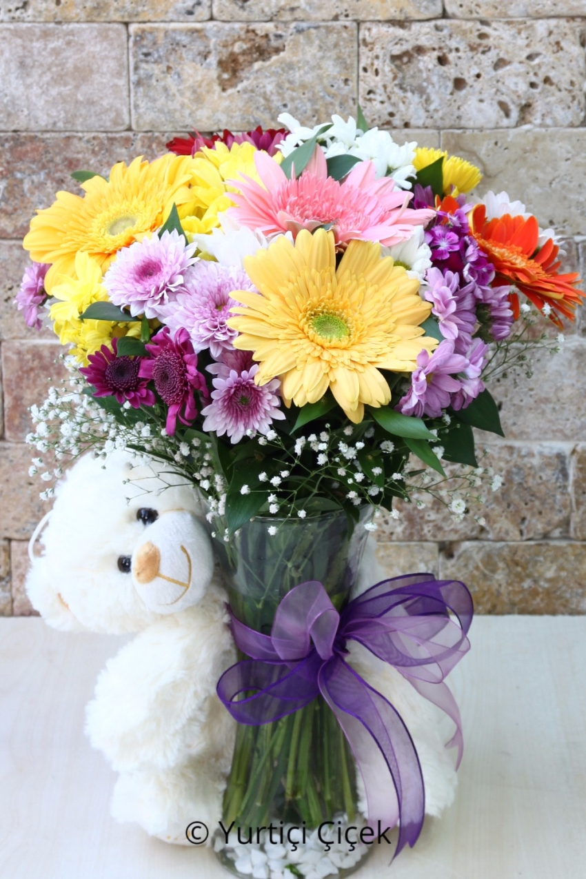 Colorful bouquet of loved ones with the freshest and most seasonal fresh flowers can send a gift plush flower. Plush toy-breed varies in color. Nearly Product Size: 50 cm