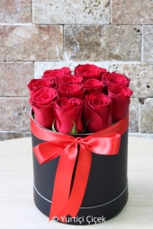 The special design arrangement prepared with 9 or 10 red roses in the round box will make your loved ones happy. Approximate Product Size: 20 cm