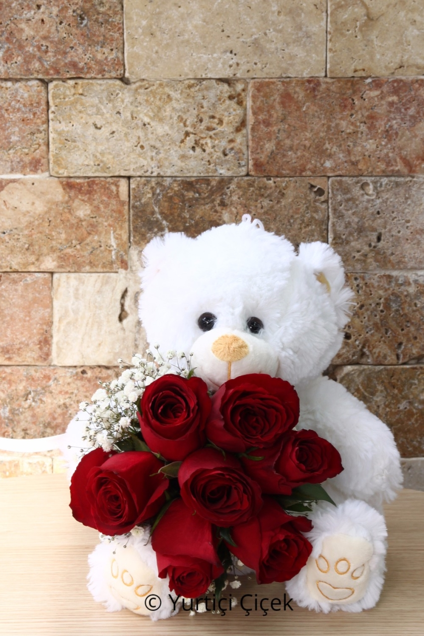 The sole owner of your heart the most beautiful gift of it and also if you call him worthy plush teddy bear and red roses in her arms 7 exactly the product. (Plush models and colors may vary depending on the availability.)