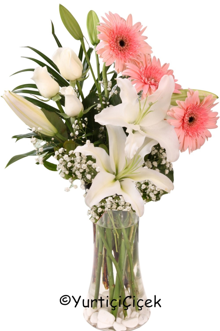 Glass Vase Gerbera, Lilies and will allow you to express the wish to come word love your bouquet of roses will be the most beautiful gift.